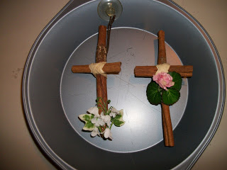 Decorative  cross from cinnamon sticks